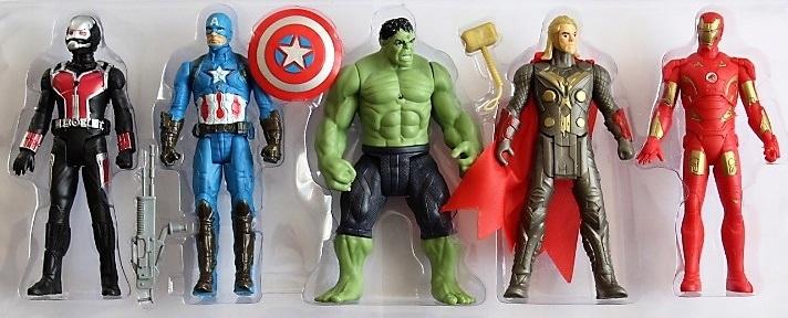 Zestaw Avengers 5 Figurek Świecą Duże ok 15cm HIT
