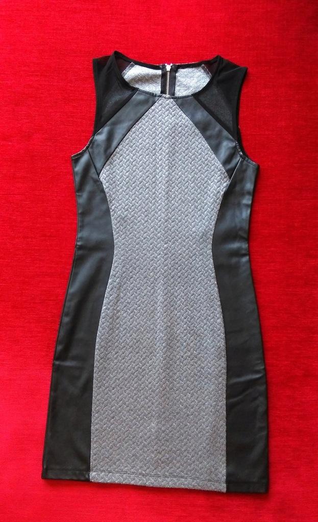 H&M Divided sukienka mini skóra szara czarna S