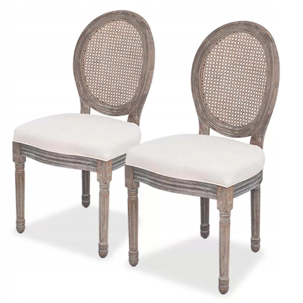 Krzesła do jadalni, lniane/rattanowe, 2 sztuki