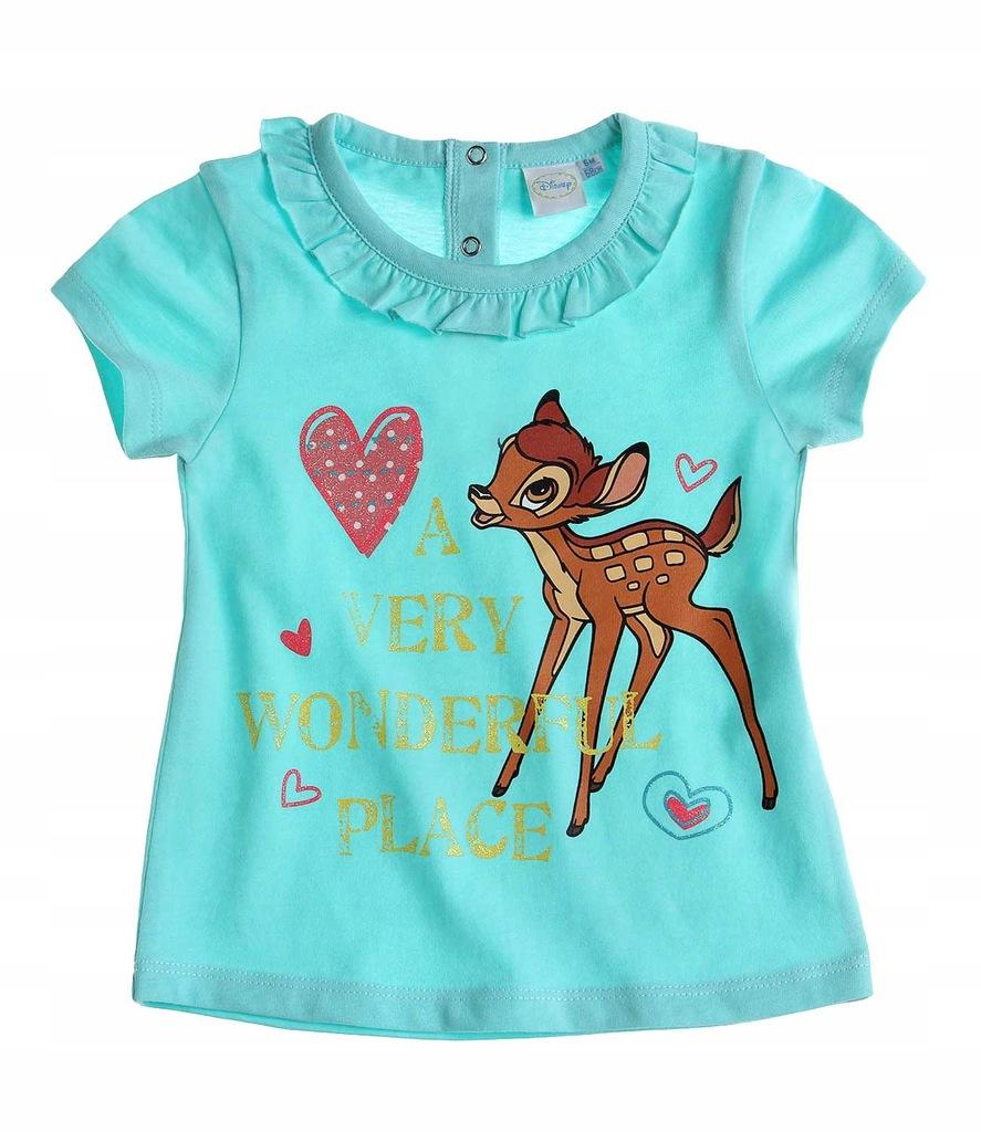 Bambi Disney 62 koszulka t-shirt turkus serduszka