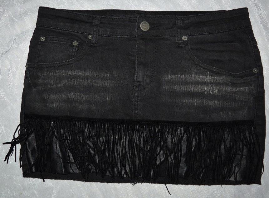 2* Spódnica jeansowa z fredzlami Amisu 42