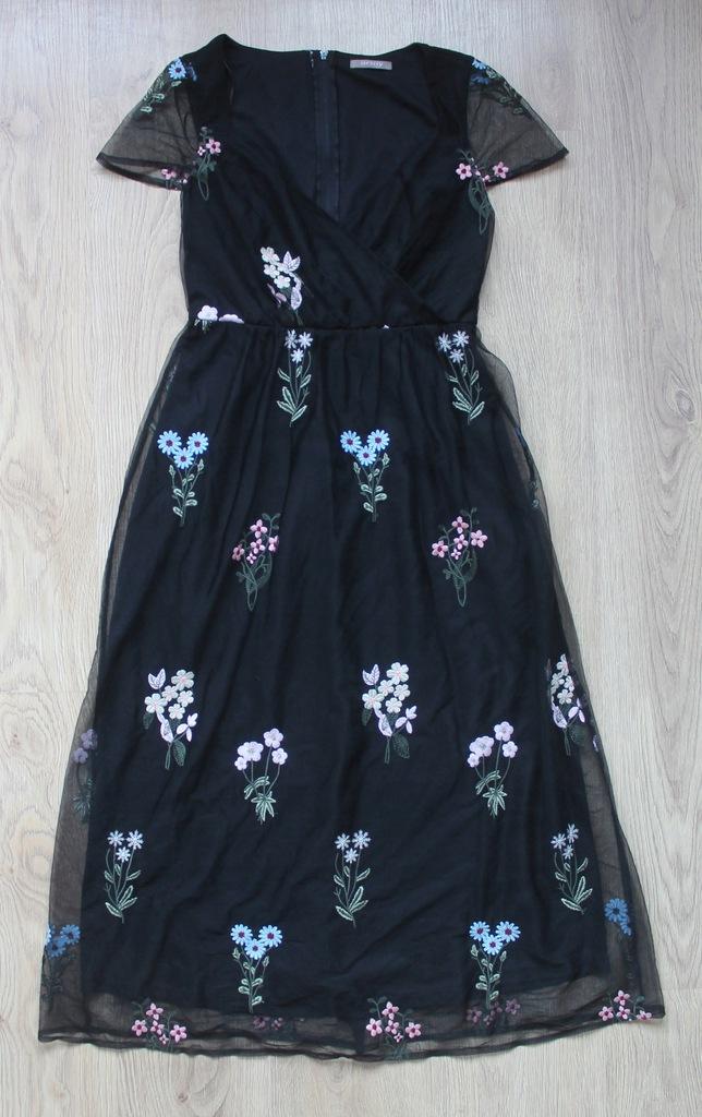 ORSAY Sukienka CZARNA kwiaty MIDI siatka HAFT XS %