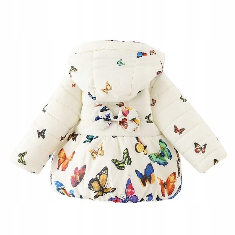 Ciepła kurtka zimowa motylki bombka kokardka 86