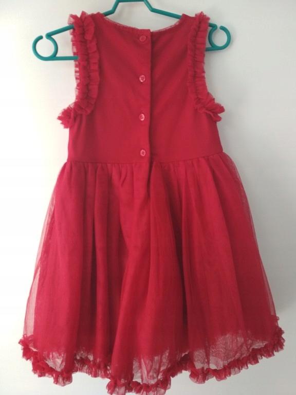 czerwona sukienka tiulowa tiul 1,5 2lata 92cm