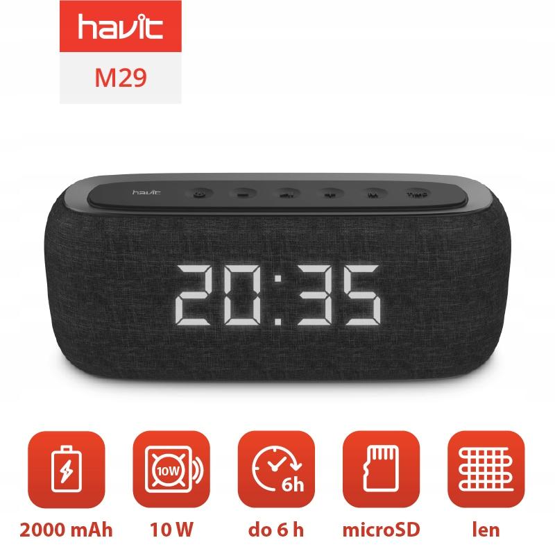 Głośnik Bluetooth Zegar Budzik AUX SD Havit M29