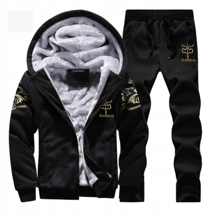 Komplet Męskie Dresy Bluza na Zamek + Spodnie XL