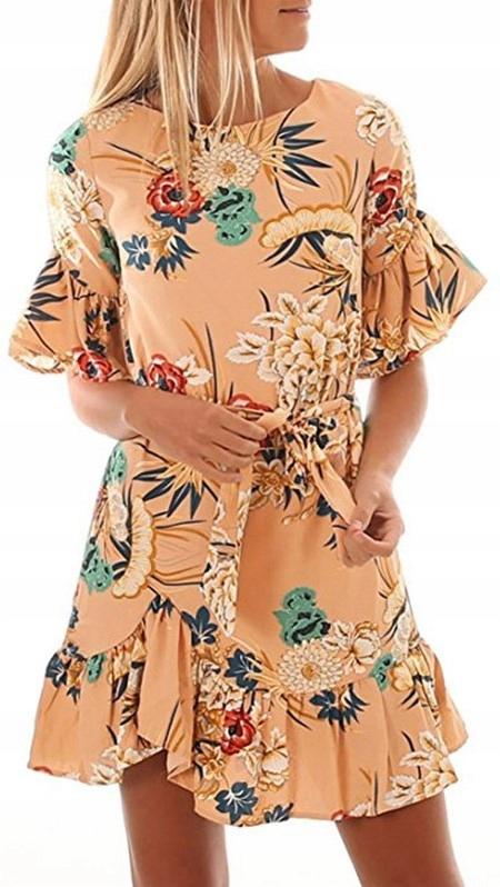 Hiszpanka Carmen szyfon falbana zwiewna floral XL