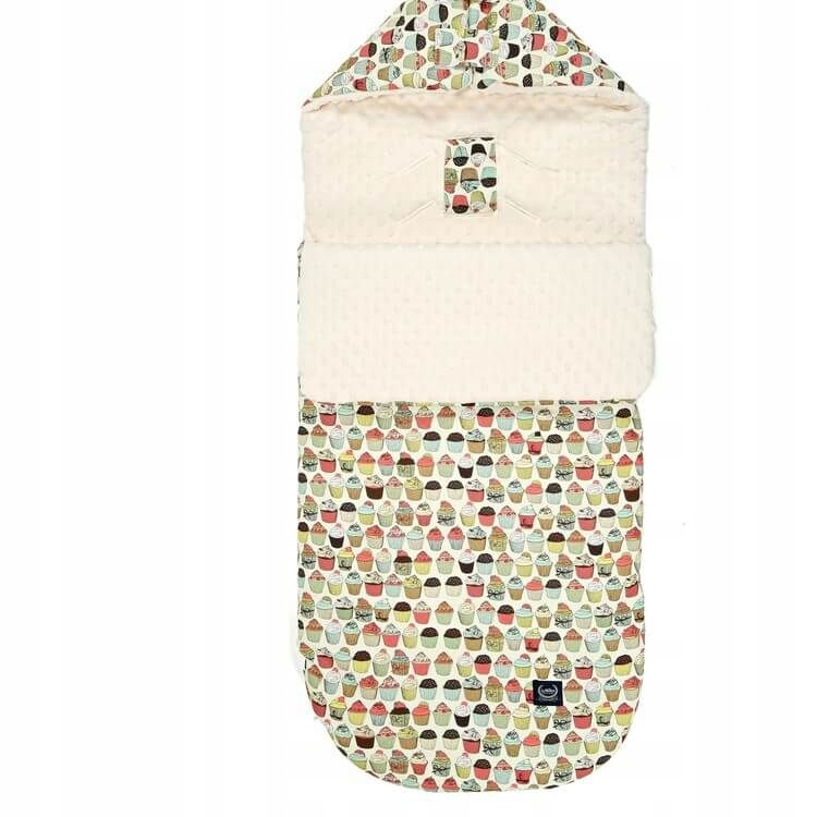 Stroller Bag Śpiworek S - Cupcakes - Ecru
