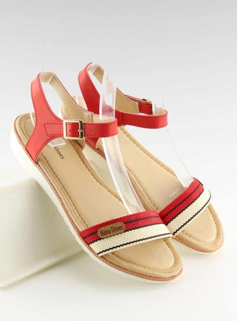 Sandałki na płaskiej podeszwie czerwone J1024 A5 Red