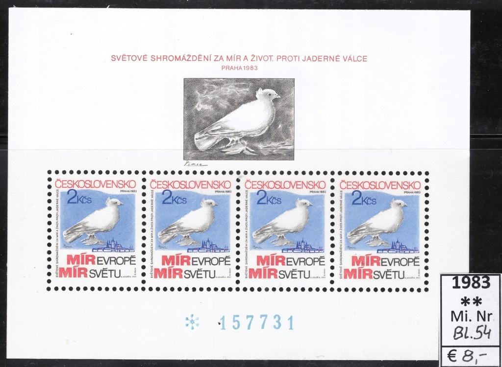 Czechosłowacja 1983, Mi. Bl 54 **MNH