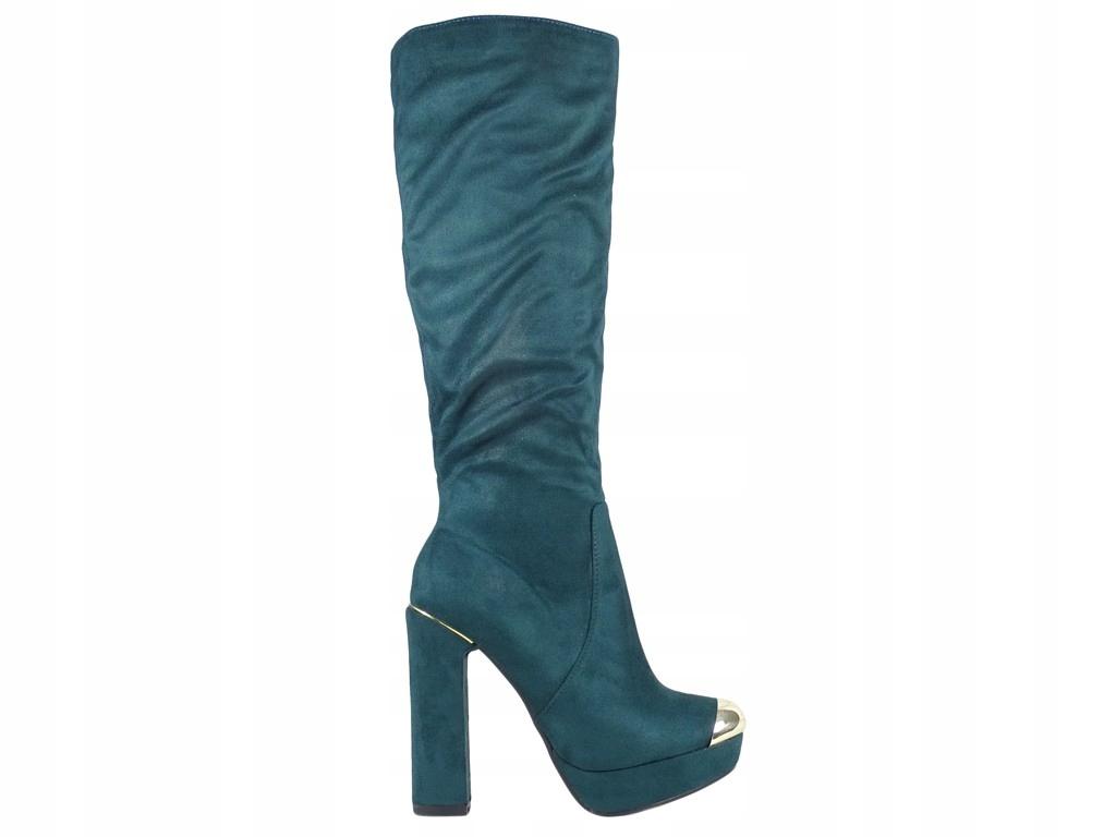Kozaki damskie na słupku zamszowe buty 40