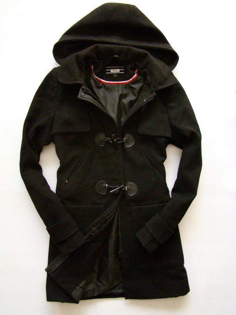 NEXT markowy czarny ciepły płaszcz 20% rozm 40