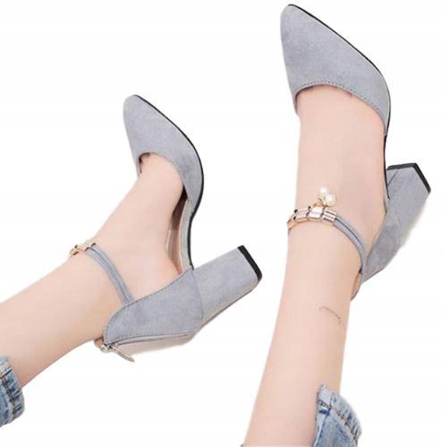 Buty damskie na słupku pasek wokół kostki zamek 34