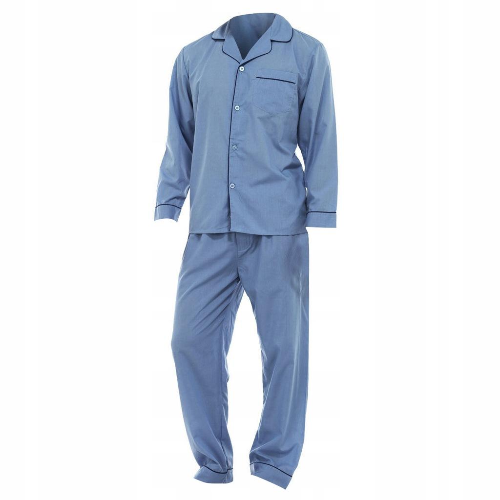 Męska gładka piżama koszula długi L Niebieski