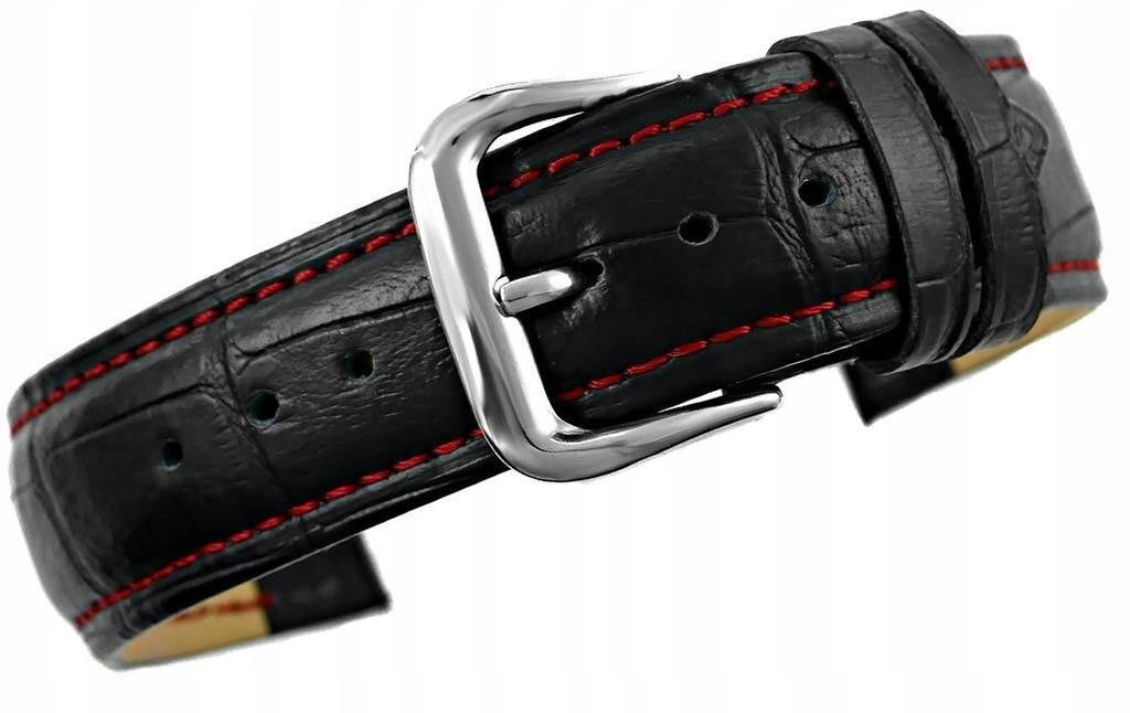 Pasek do zegarka - Skóra 20 mm 20K1 Czarno-Czerwon