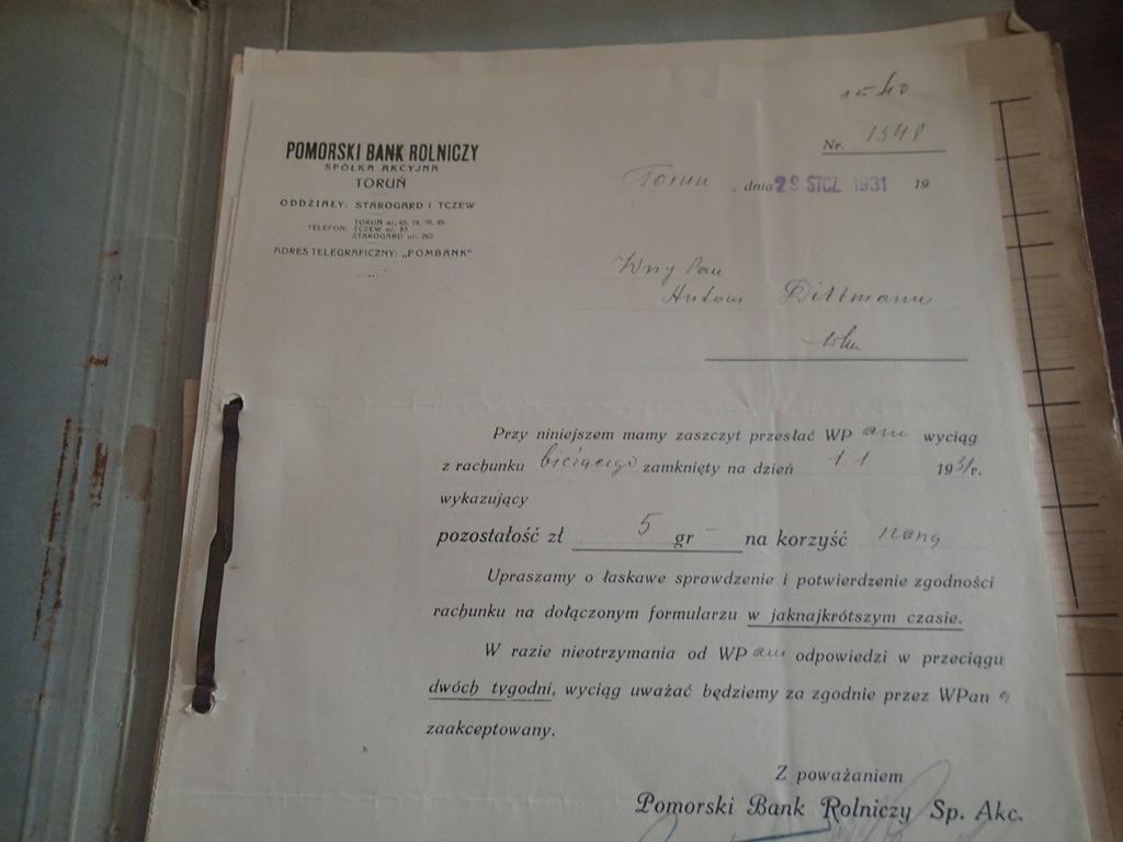 20 X Pomorski Bank Rolniczy Toruń 1931 r