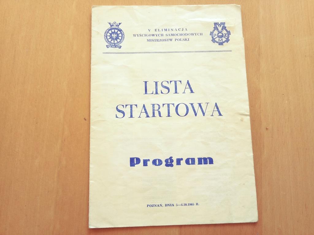 PROGRAM RAJD SAMOCHODOWY POZNAŃ 1985