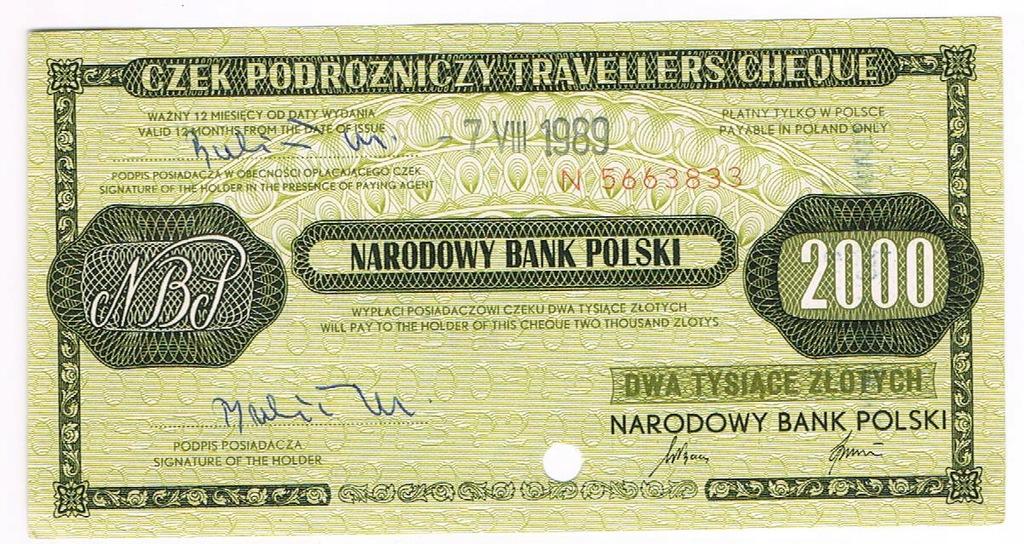 Czek podróżniczy NBP 2000 zł