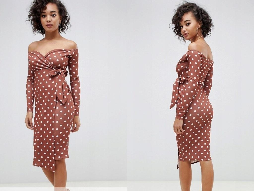 BOOHOO sukienka midi w grochy retro L L