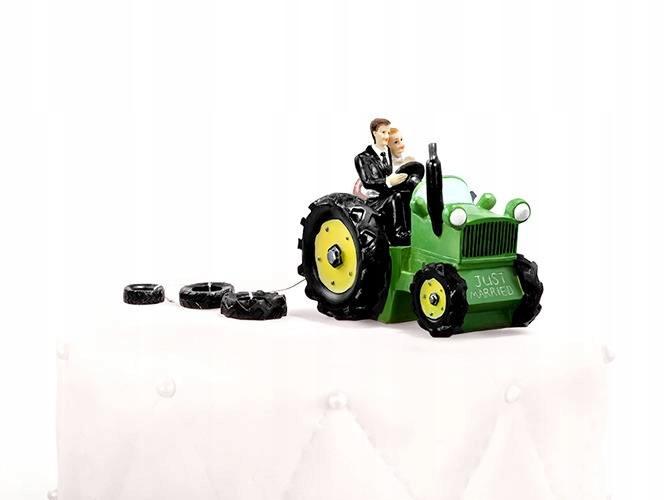 Figurka Młoda Para na traktorze Tort Wesele Ślub