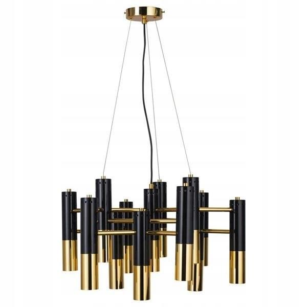 Lampa wisząca GOLDEN PIPE-13 czarno złota 60 cm