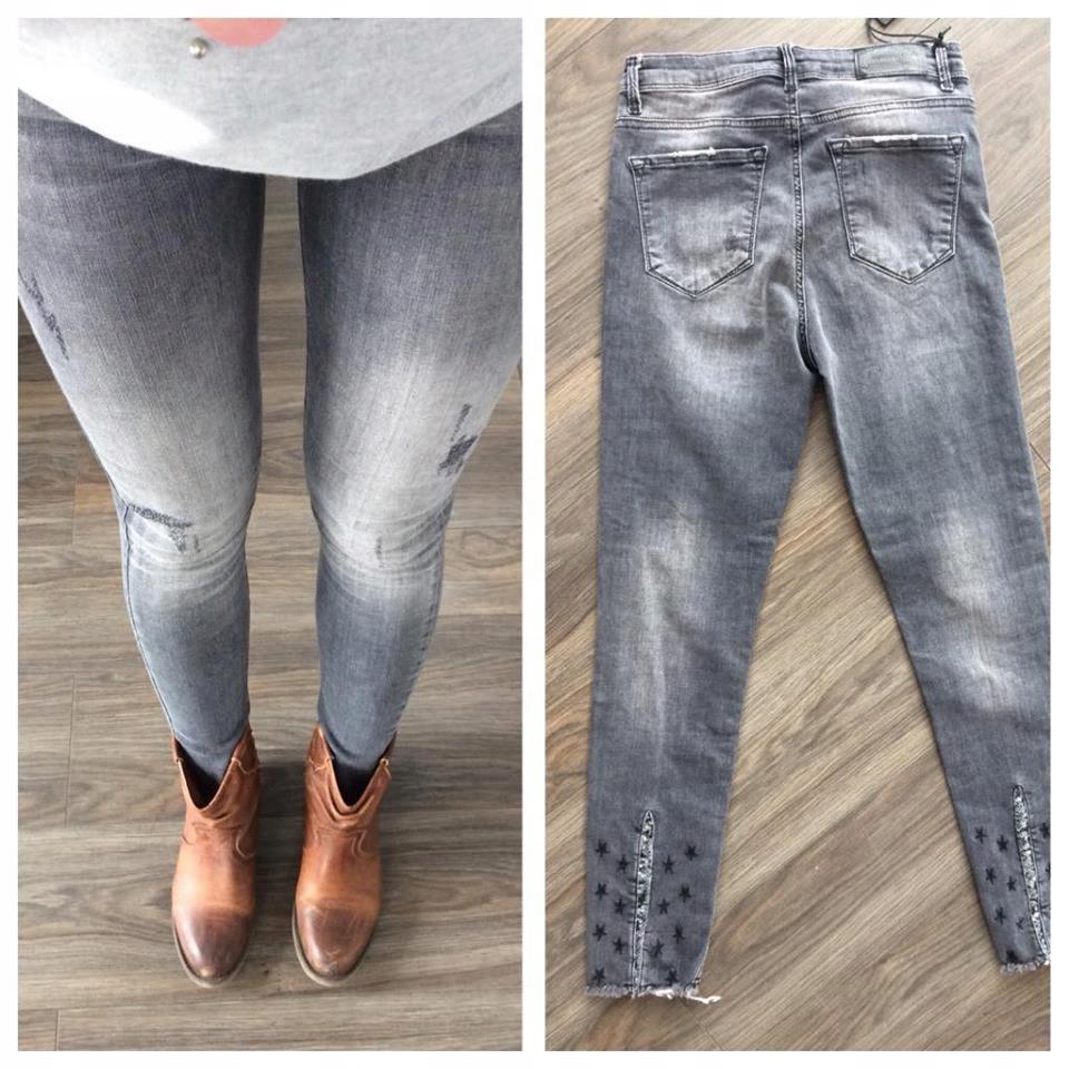 jeansy spodnie rurki gwiazdki szare high waist NEW