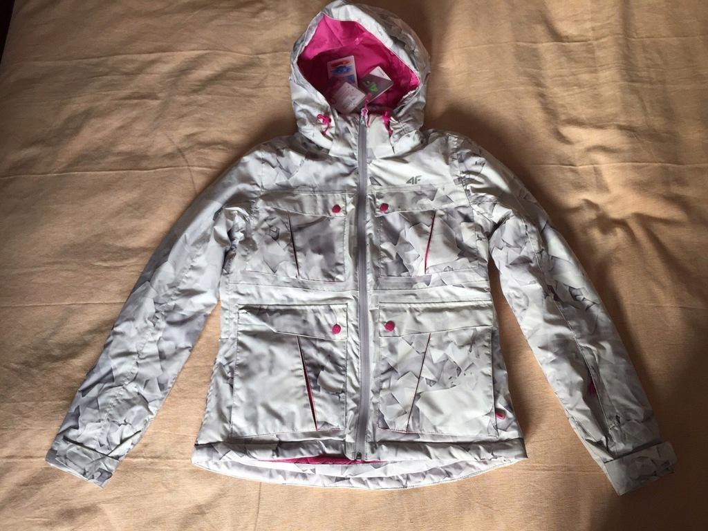 kurtka narciarska damska kudn550 nadruk biały 4f