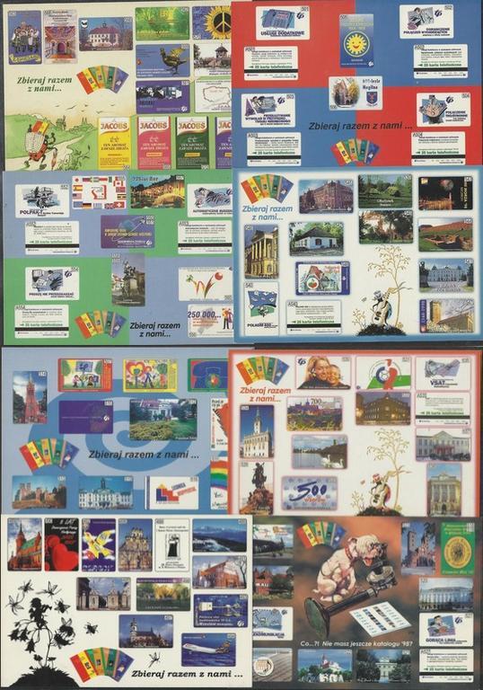 Kilkadziesiąt kart telefonicznych na pocztówkach