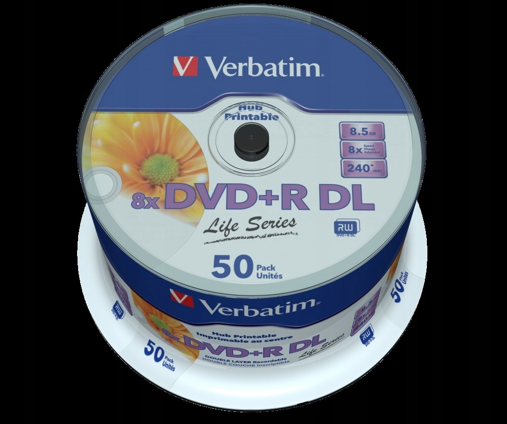 PŁYTY DVD+R DL VERBATIM PRINTABLE 8,5GB Cake 50szt