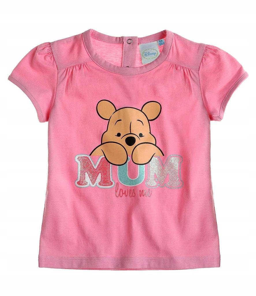 koszulka t-shirt 62 różowy Kubuś Puchatek