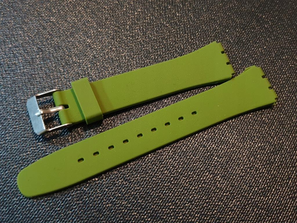 Nowy pasek Swatch 17mm silikonowy Zielony