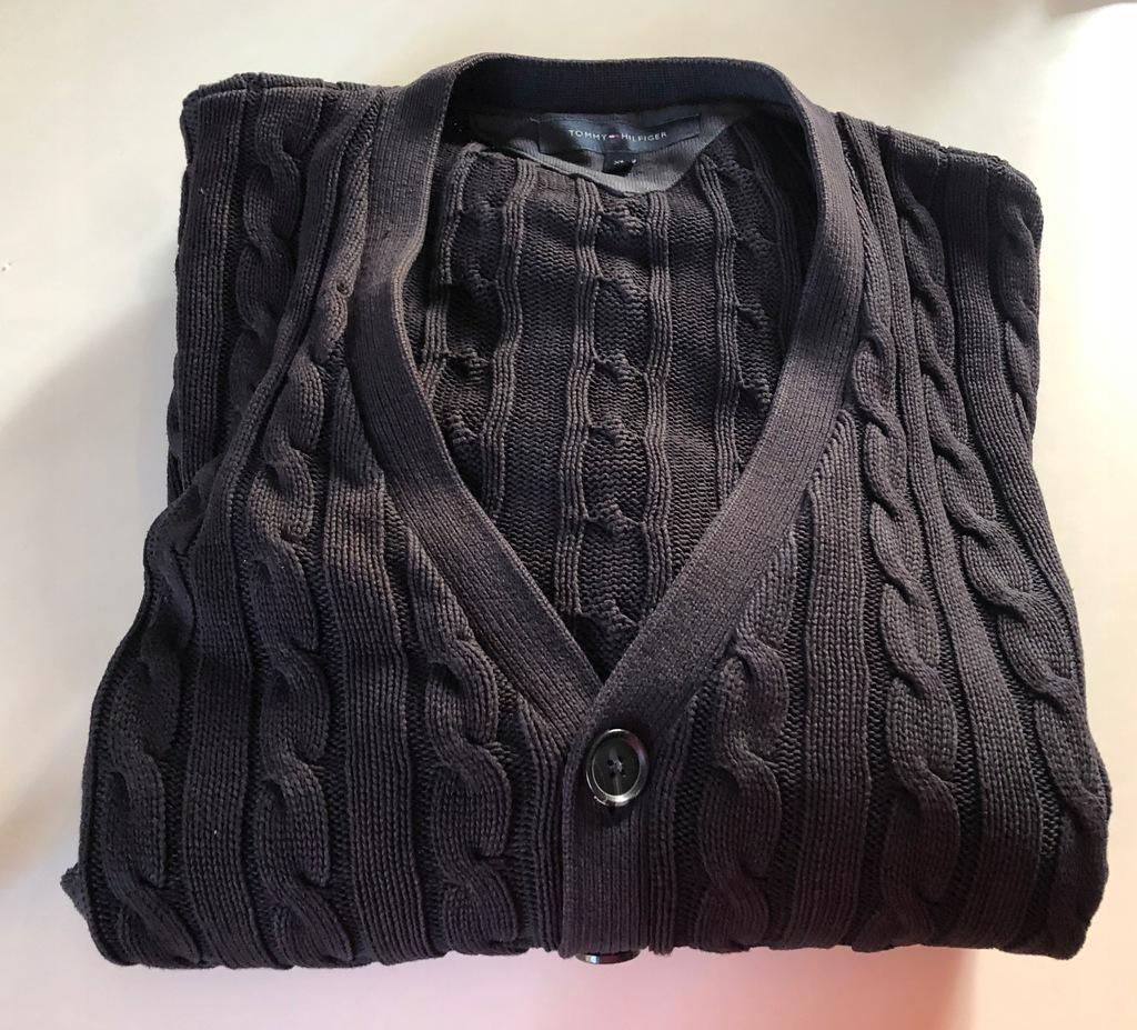 Czarny sweter TOMMY HILFIGER XL rozpinany / 3643