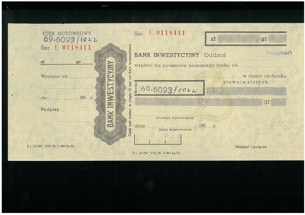Czek Banku Inwestycyjnego - lata 50-te