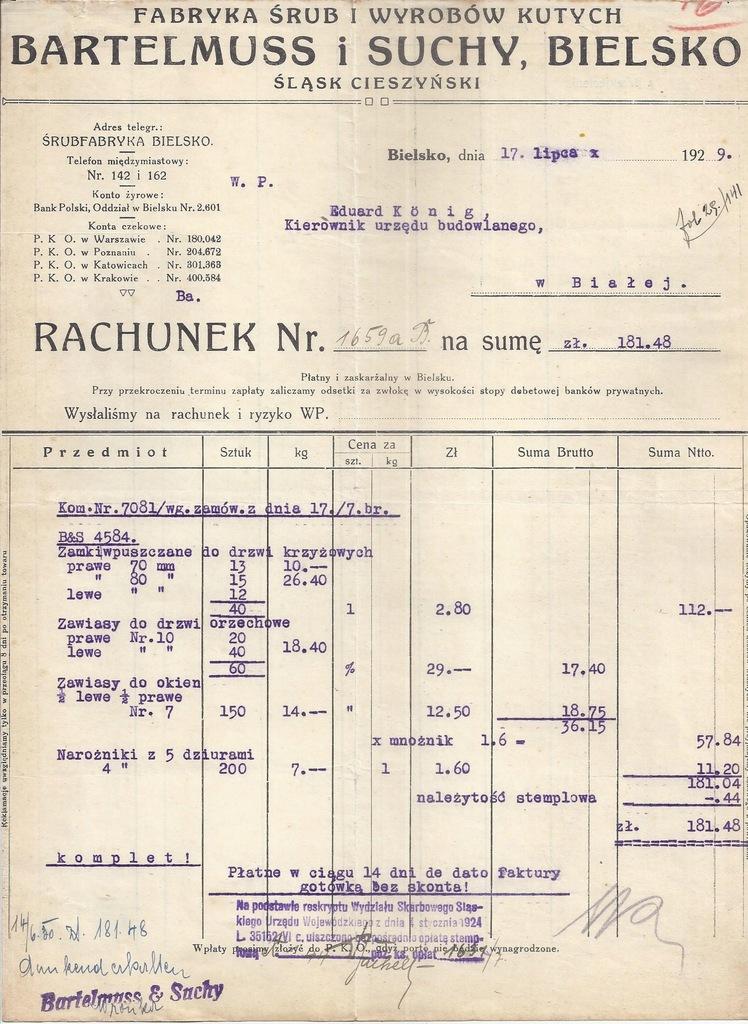 RACHUNEK BIELSKO FABRYKA ŚRUB BARTELMUS SUCHY 1928