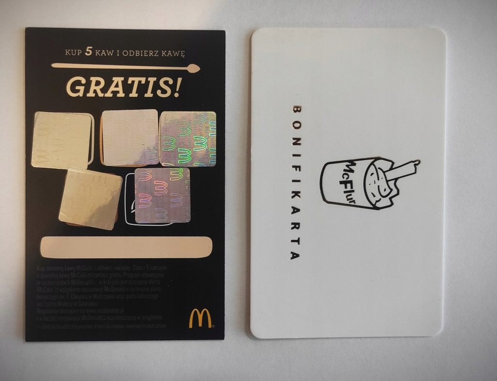 Koperta + Bonifikarta Mc'Donalds + Kupon na Kawę