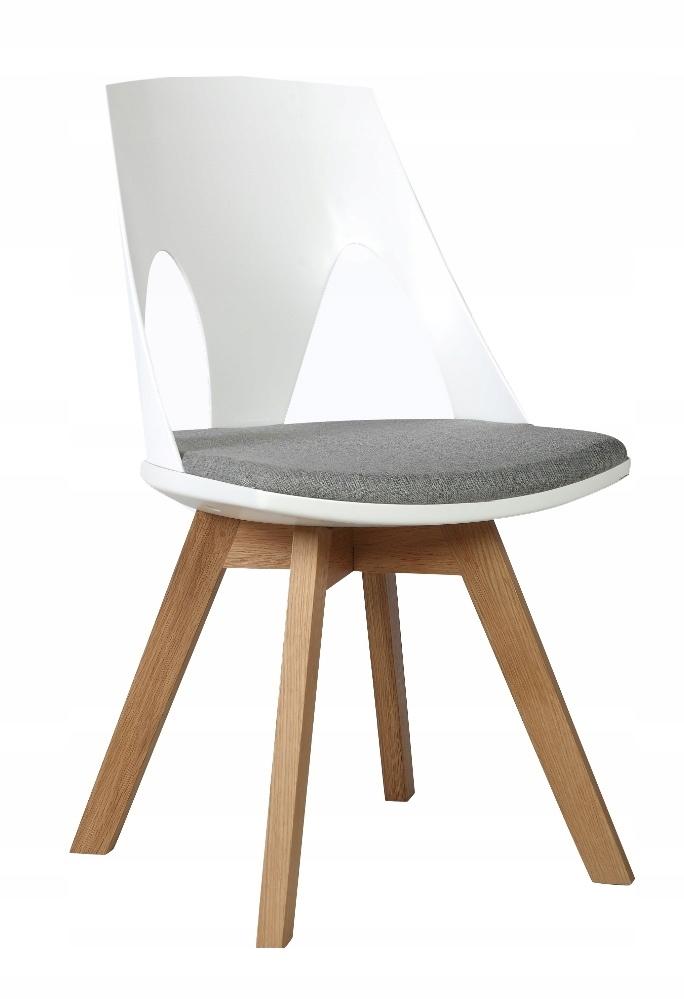Krzesło HOLEY biały z szarą poduszką - podstawa dę