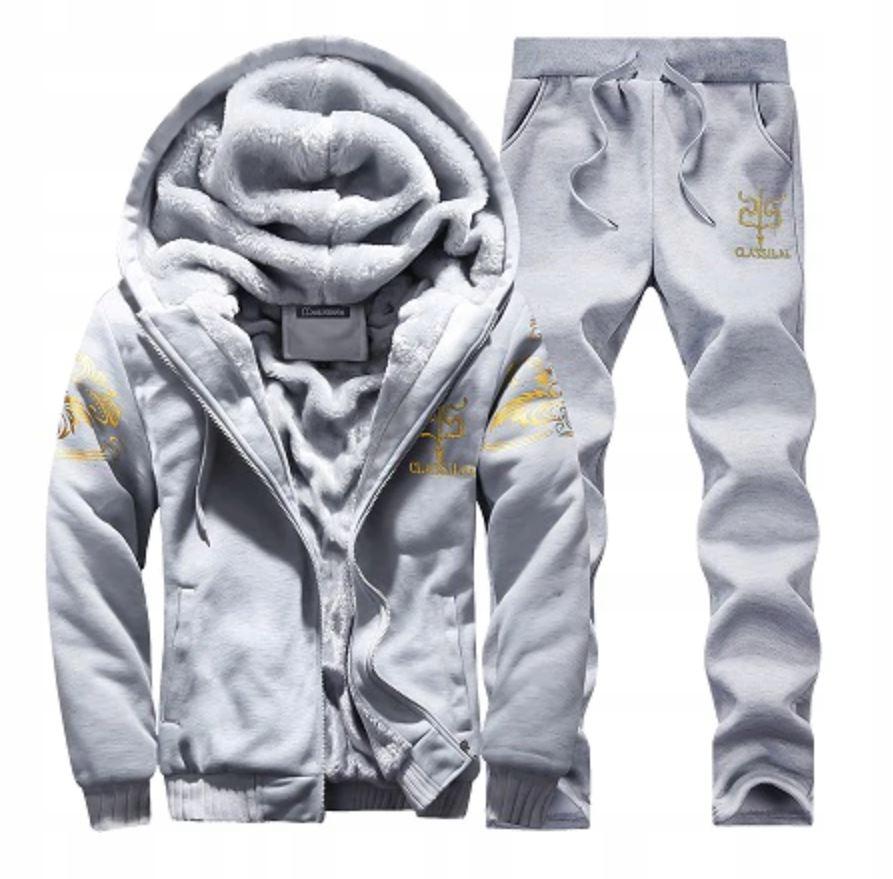 Komplet Męskie Dresy Bluza na Zamek + Spodnie L