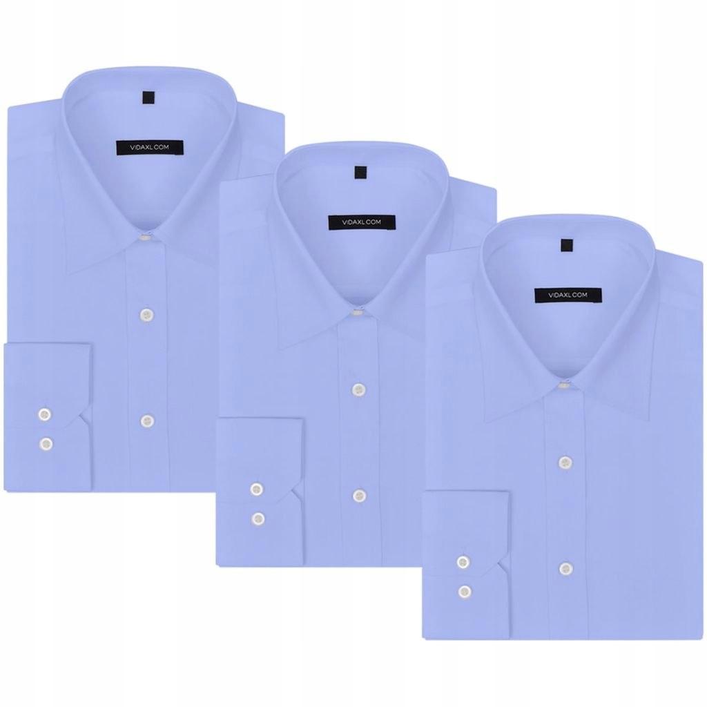 VidaXL Męskie koszule błękitne, rozmiar S, 3 szt.