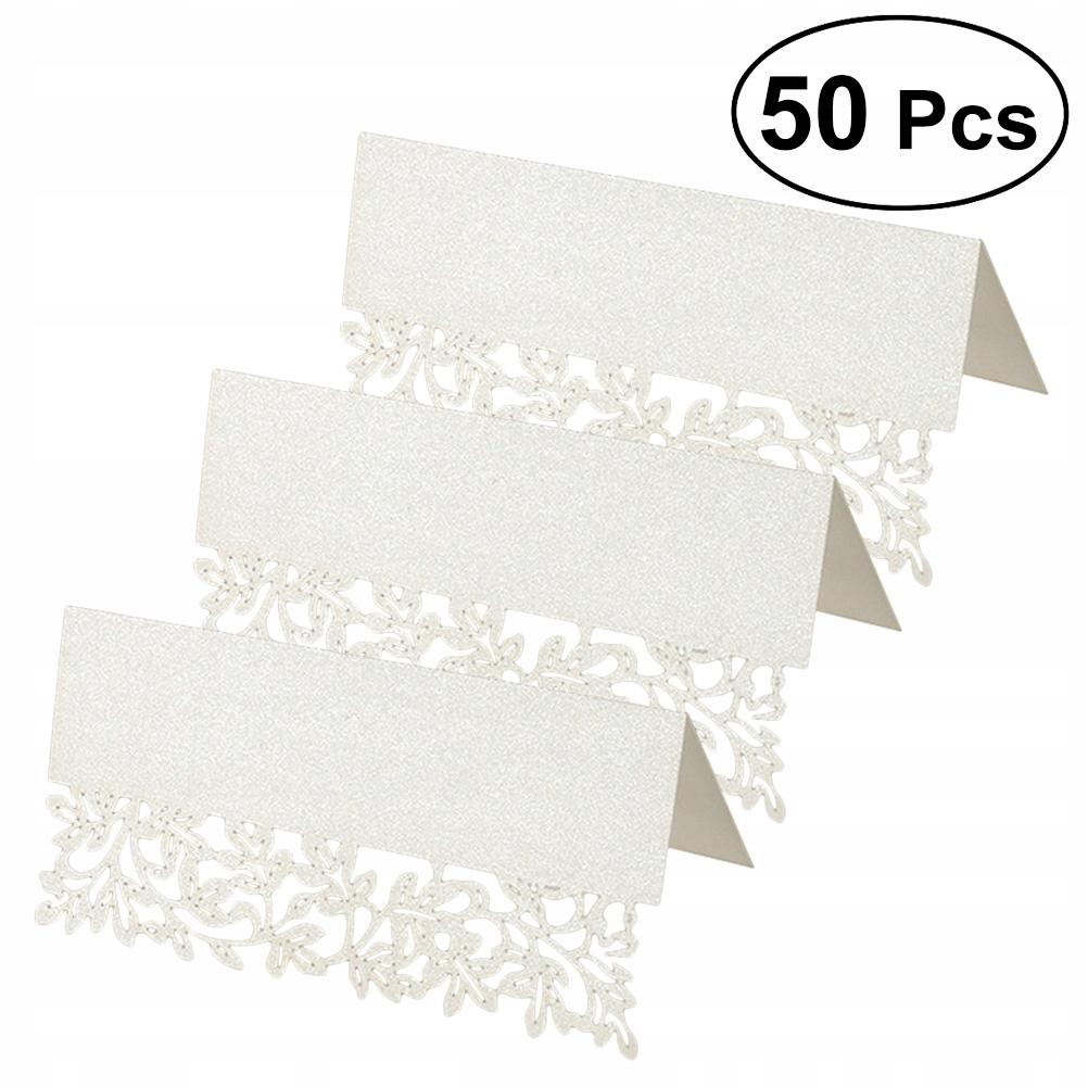 50pcs White Hollow Cut Table Cards Wedding Supplie