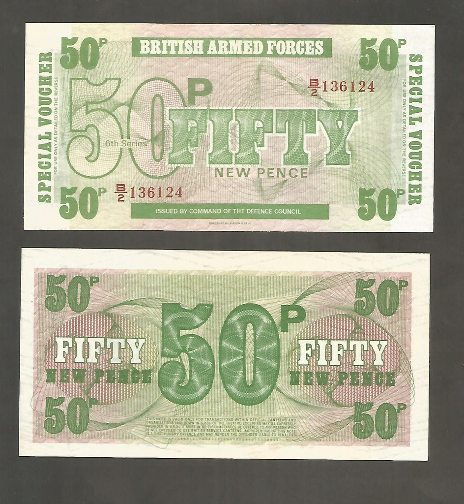 BANKNOT 50 pensów BRITISH ARMED FORCES , UNC -