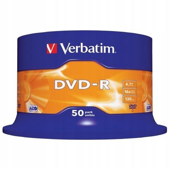 Płyty DVD-R 4,7GB 16X Verbatim Cake 50 JAKOŚĆ HQ