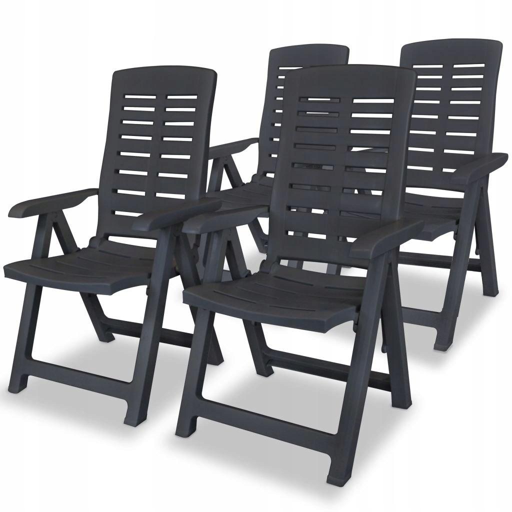 VidaXL Rozkładane krzesła ogrodowe, 4 szt., plasti