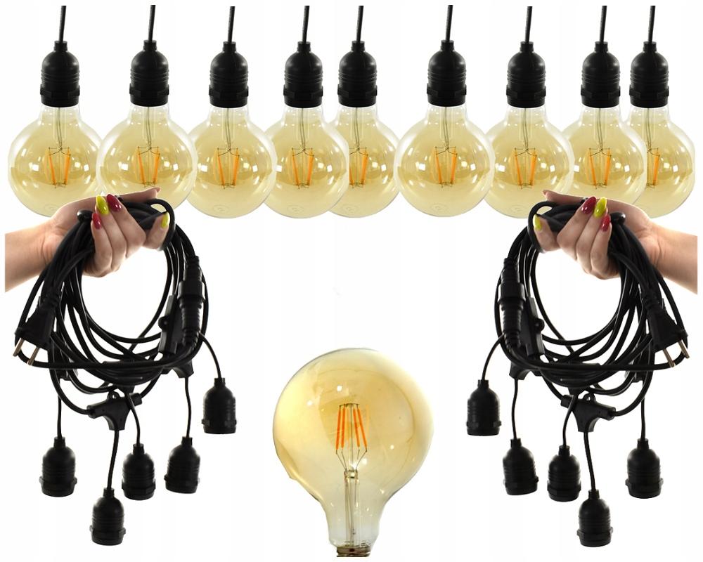Lampki Girlandy Żarówki na Kablu Sznurze 20M