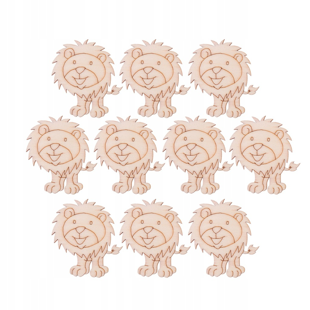 10 szt. Piękne drewniane plastry w kształcie lwa D