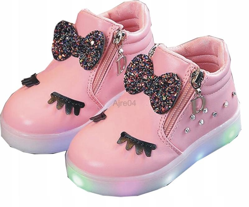 Dziecięce Buty LED Urocze Dziewczęce n Różowe 29