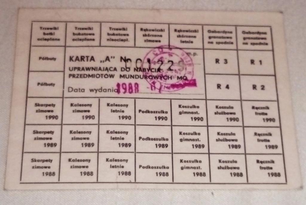 KARTKA NA PRZEDMIOTY MUNDUROWE MO 1988r