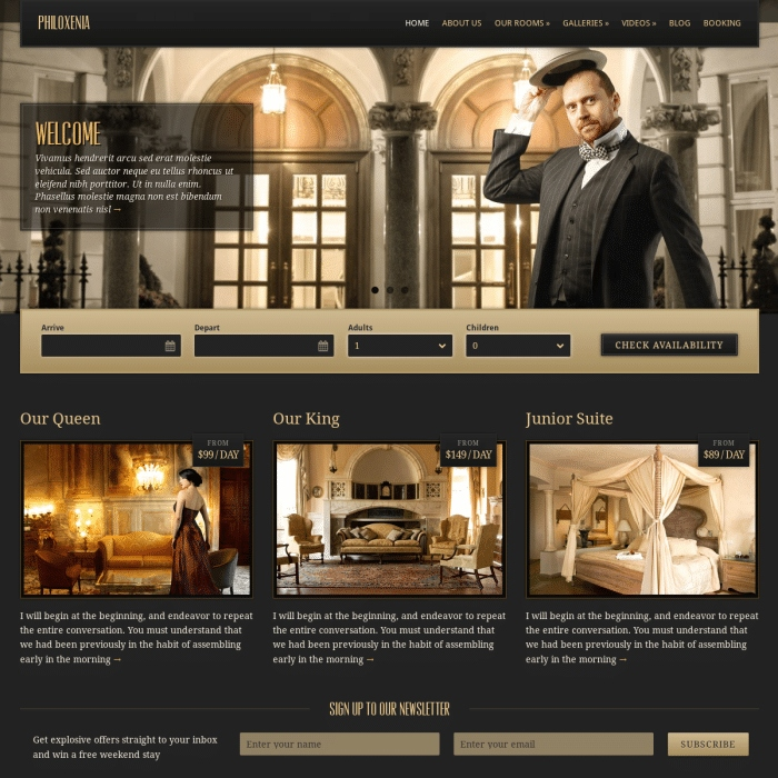 Szablon Philoxenia Hotel WordPress Theme