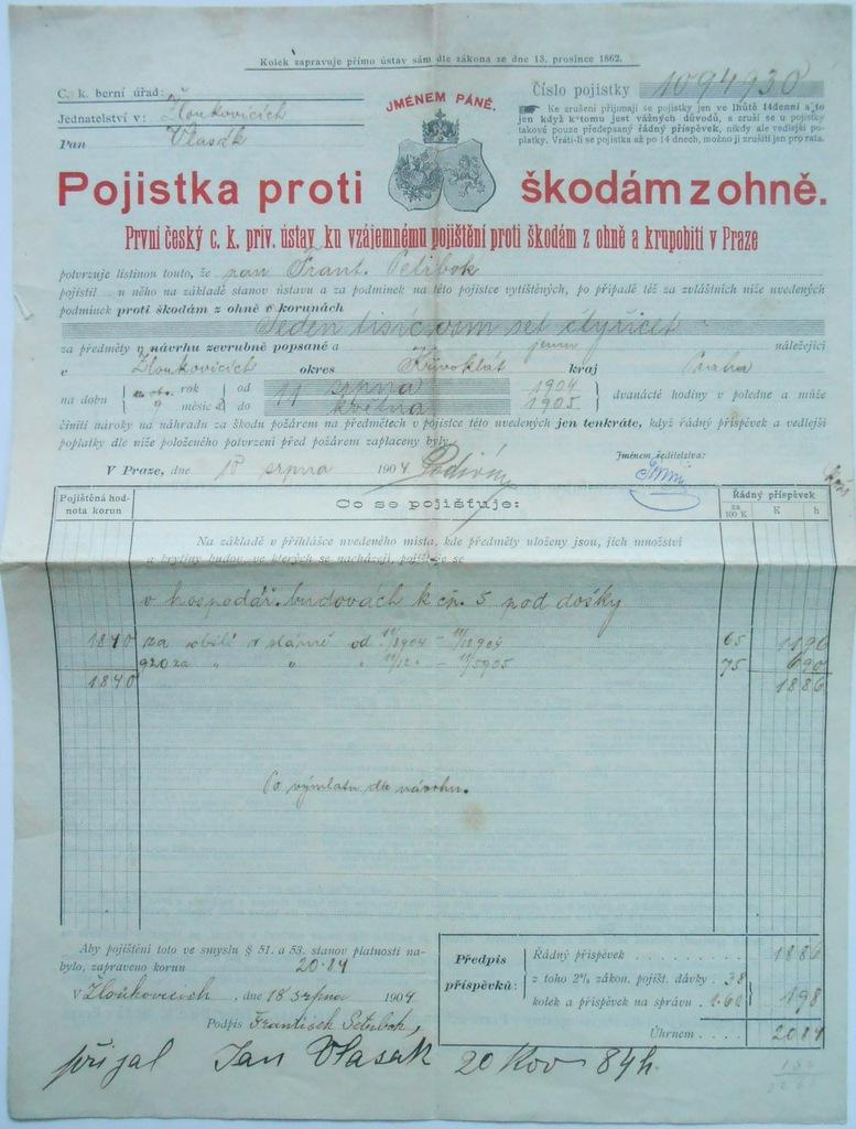 POLISA PIERWSZA CZESKA WZAJEMNA UBEZP. PRAGA 1904