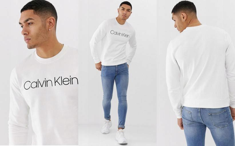 X63257 A04 CALVIN KLEIN BLUZA LOGO WHITE L