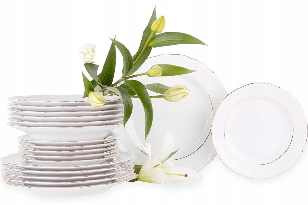 Serwis obiadowy kpl 18el / 6os porcelana Chodzież